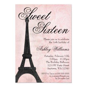 Vintage Paris Pink Black Sweet 16 Birthday