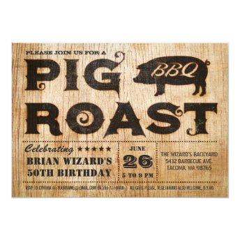 Vintage Pig Roast BBQ Birthday Invitation