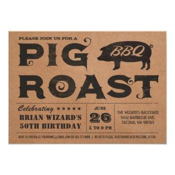 Vintage Pig Roast BBQ Birthday  Kraft