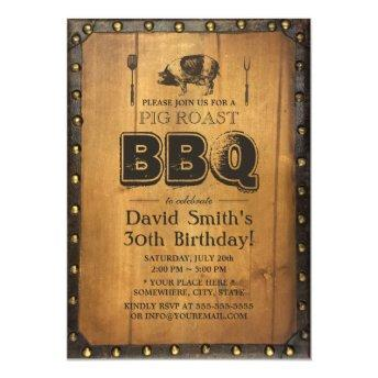 Vintage Pig Roast BBQ Dirty 30 Old Wood Birthday