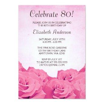 Vintage Pink Roses 80th Birthday Party