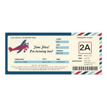 Vintage Plane Birthday Boarding Pass Ticket