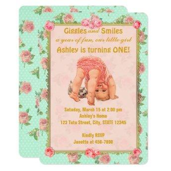 Vintage Playful Girl Birthday Invitation 1st One