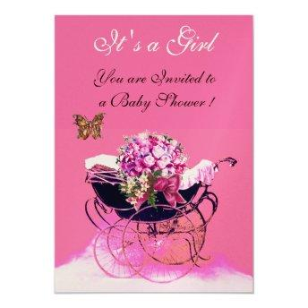 VINTAGE PRAM WITH FLOWERS,BUTTERFLIES BABY SHOWER INVITATION