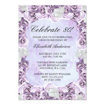 Vintage Purple Roses and Feather 80th Birthday