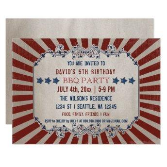 Vintage Rustic Red and Blue Memorial Day Birthday