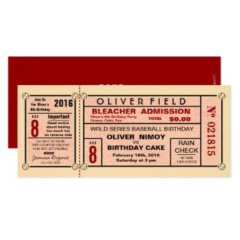 Vintage Stadium Ticket Baseball Birthday