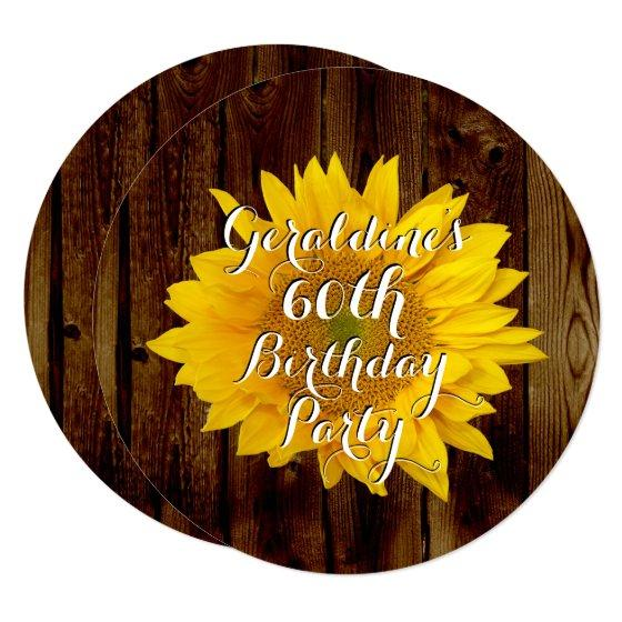 Vintage Sunflower Country Birthday Party Invitation