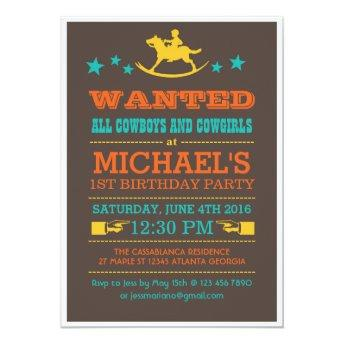 Vintage Wanted Western Cowboy Birthday