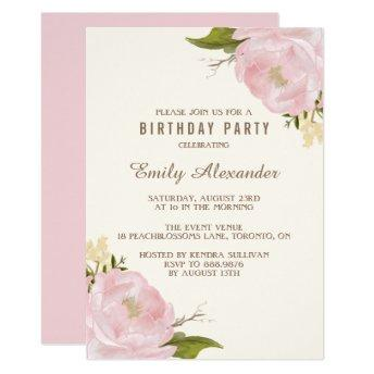 Vintage Watercolor Pink Peonies Birthday Party