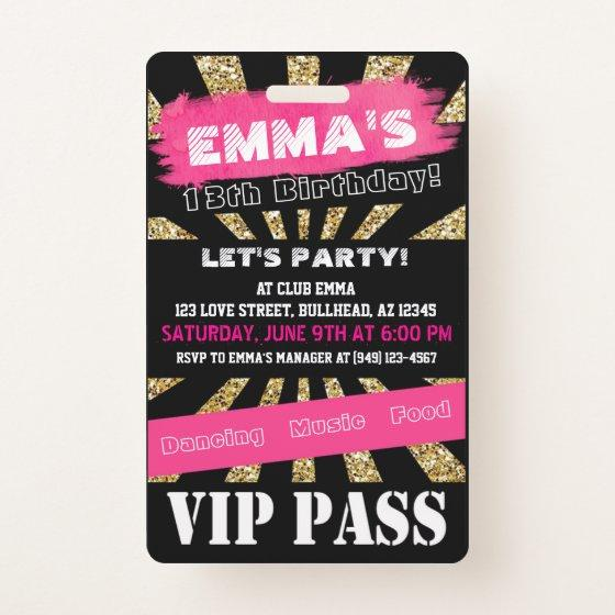 343 VIP Pink Gold Any Event Pass Custom Wording Badge