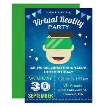 VR Game Virtual Reality Birthday Party Invitation