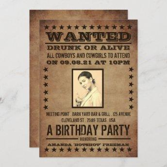 Wanted Poster, Classic Western Birthday Invitation