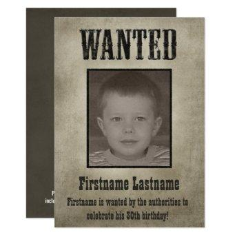 WANTED Poster Funny Birthday Invitation
