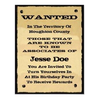 Wanted Poster Invitation Fun Western Cowboy Party