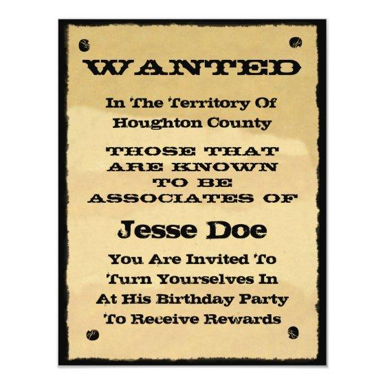 195 Wanted Poster Invitation Fun Western Cowboy Party