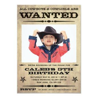 Wanted Poster Kids Party - small Invitation