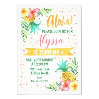 Watercolor Aloha Luau Birthday Invitation