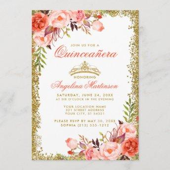 Watercolor Coral Floral Gold Glitter Quinceanera Invitation