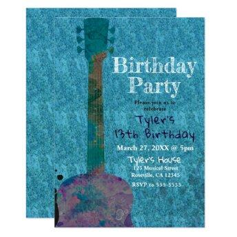 Watercolor Guitar Blue Musical Birthday Party
