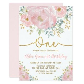 Watercolor Pink Blush Floral 1st Birthday Party Invitation