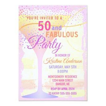 Watercolor Pink Striped 50 and Fabulous Birthday Invitation