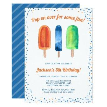 Watercolor Popsicle Boy Birthday Party Invitation