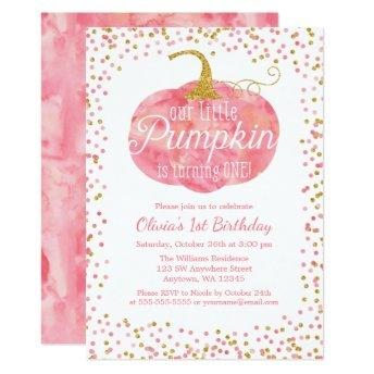 Watercolor Pumpkin Glitter Girl First