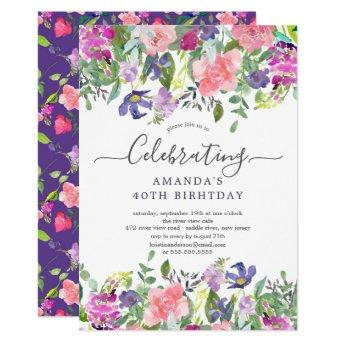 Watercolor Purple Floral Birthday Party Invitation