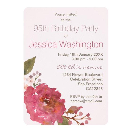 236 Watercolor Rose Bouquet 95th Birthday Party Invitation
