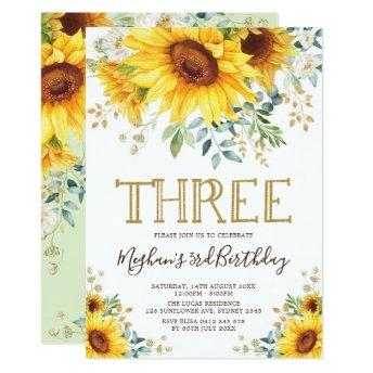 Watercolor Sunflowers 3rd Birthday Summer Floral Invitation