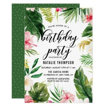 Watercolor Tropical Floral Frame Birthday Party