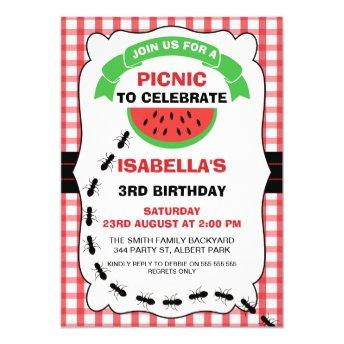 Watermelon Picnic Birthday Party Invitation
