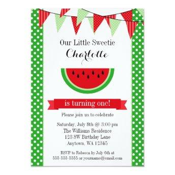 Watermelon Red Green Bunting Birthday Party