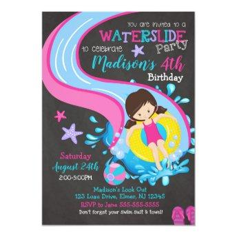 Waterslide Birthday Invitation / Pool Party / Girl