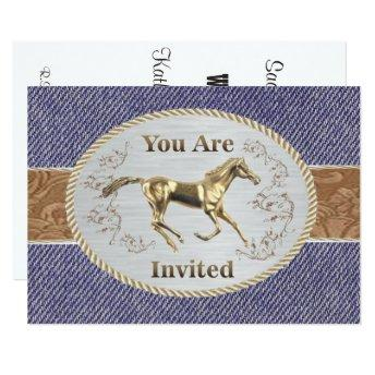 Western Belt And Buckle On Denim Your Are Invited Invitation