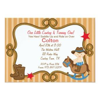 Western Little Cowboy Birthday Invitation