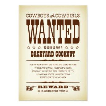 Western Wanted Poster Party Invitation