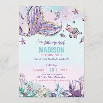 Whimsical Mermaid Under the Sea Birthday Party Invitation