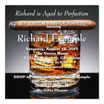 Whiskey and Cigar Birthday Party Invitation