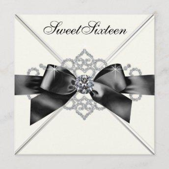 White Diamonds Black White Sweet 16 Birthday Party Invitation