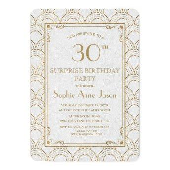 White Great Gatsby Art Deco Gold Birthday Party Invitation