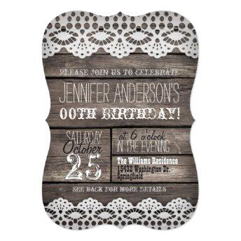 White Lace & Rustic Brown Wood Adult Teen Birthday
