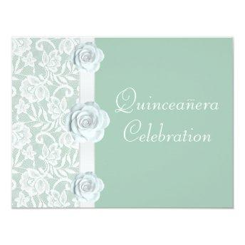 White Roses & Lace Mint Green Birthday Quinceanera