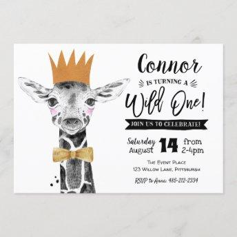 Wild One 1st Birthday Invitation Giraffe Jungle