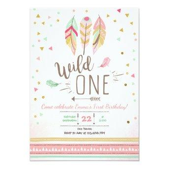 Wild one Birthday Girl Pink Gold 1st Boho Feathers Invitation