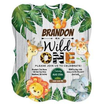 Wild One birthday invitation. Boy jungle safari Invitation