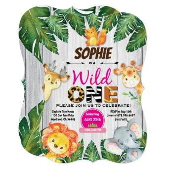 Wild One birthday invitation. Girl jungle safari Invitation