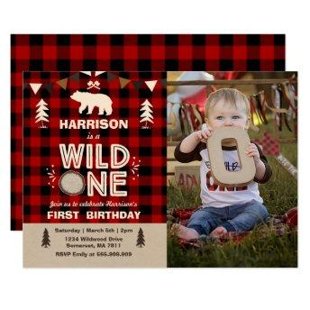 Wild One Birthday Invitation Lumberjack Wild One