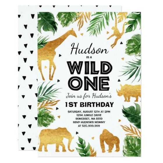 Wild One Birthday Invitation Safari Animals Party